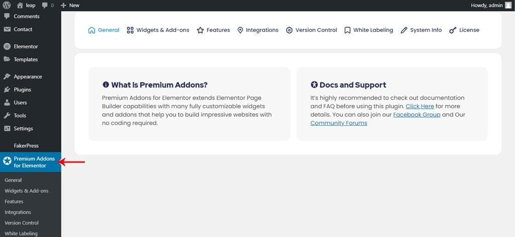 Premium Addons for Elementor Dashboard