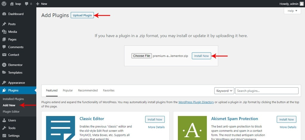 Upload and Install Premium Addons for Elementor