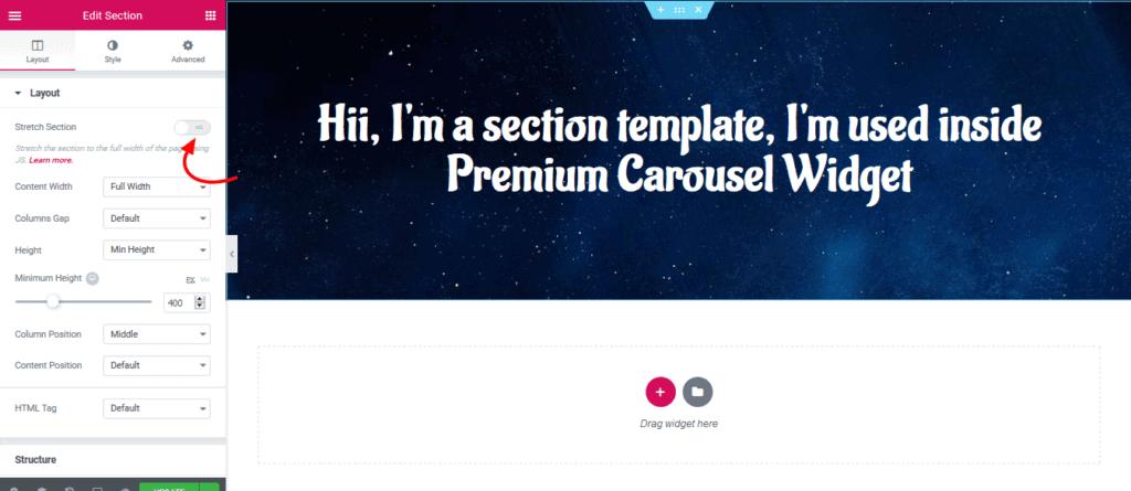Elementor Carousel First Slide