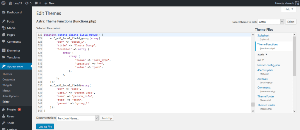 Elementor Chart Widget Add Code to Functions.php
