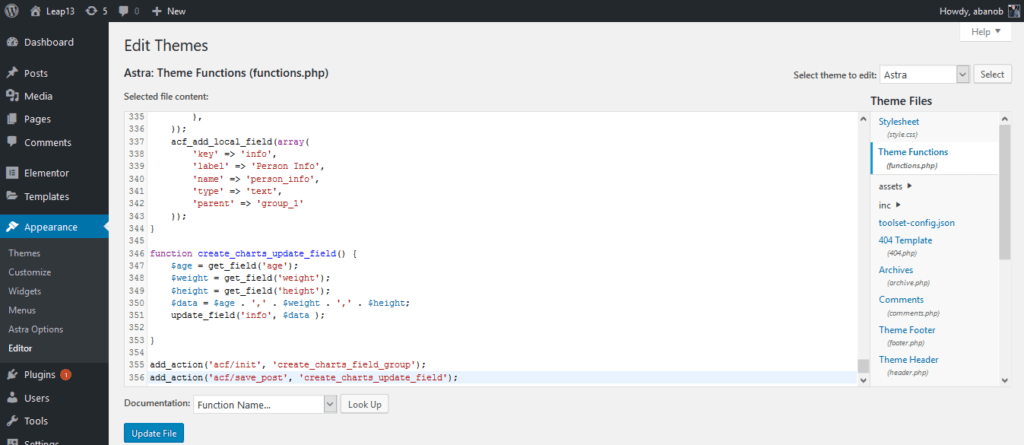 Elementor Chart Widget Adding Code to the Fucntions.php
