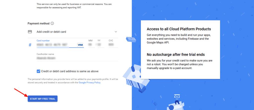 Setup Google Billing Information Step #3
