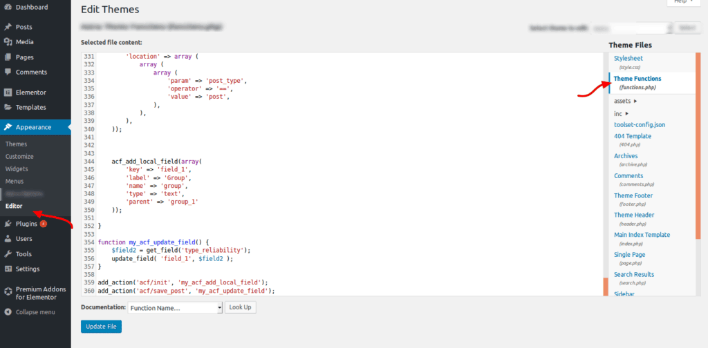 Functions.php location