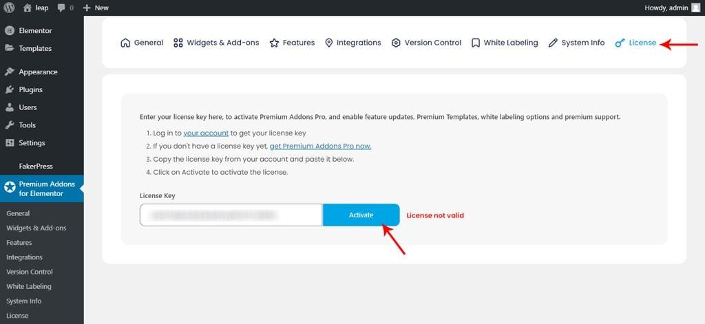 Premium Addons for Elementor License Tab
