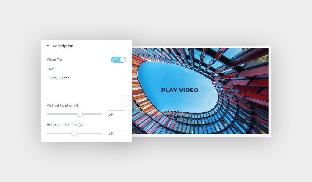 Elementor Video Box Description Options