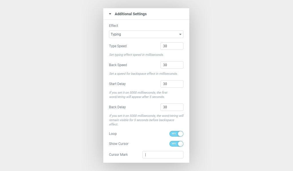 Elementor Fancy Text Widget Typing Effect Settings