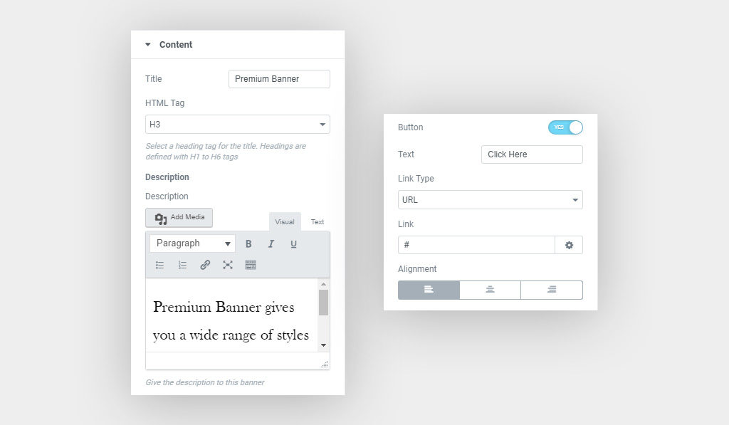 Content Settings for Banner widget for Elementor