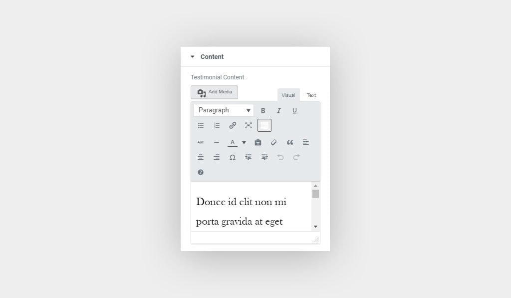Add Testimonials Content Using Elementor's Testimonials Widget