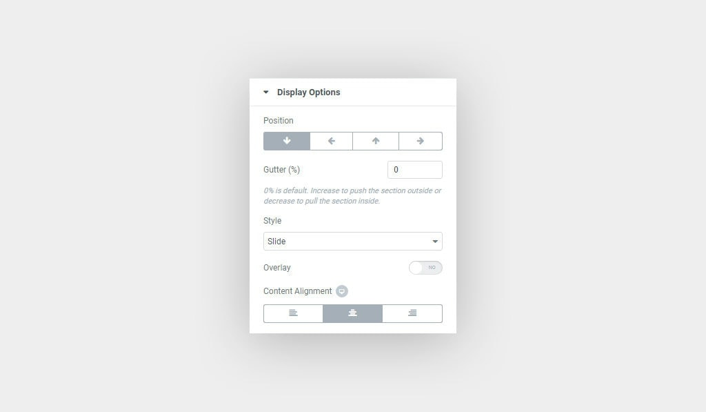 Elementor Magic Section Display Options
