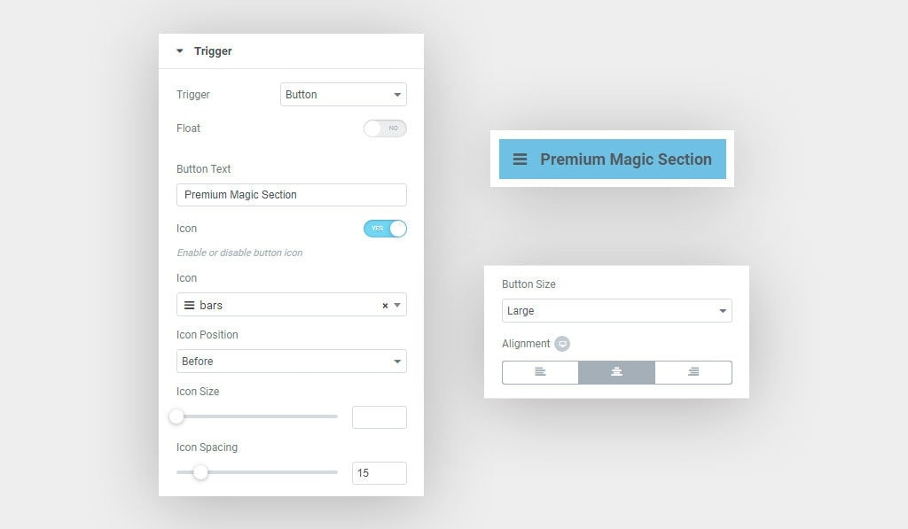 Elementor Magic Section Trigger Button Settings