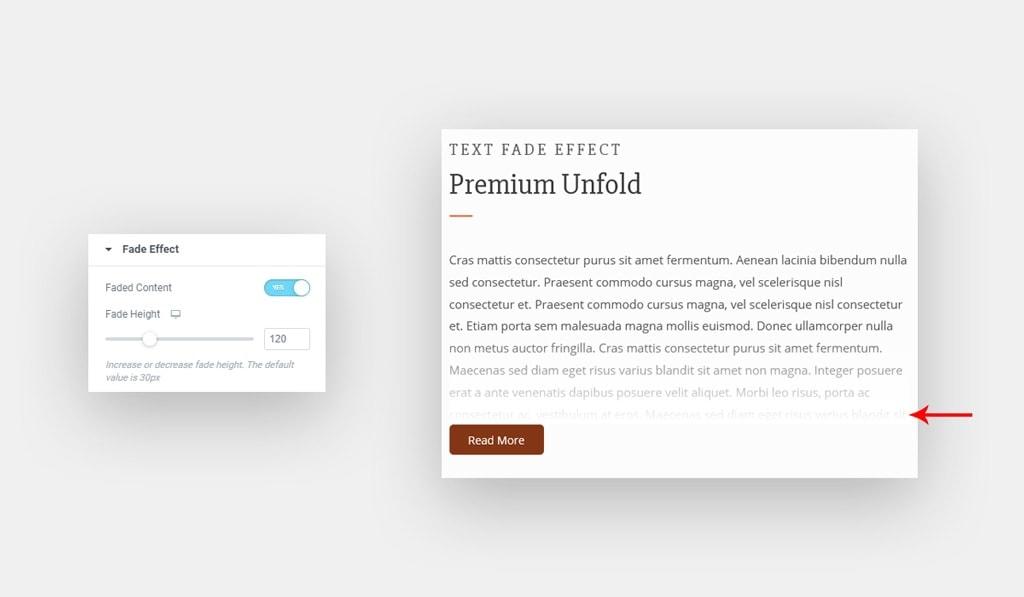 Fade Effect Settings in Unfold Widget for Elementor