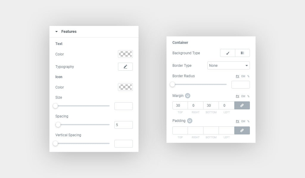 Screenshots Shows Elementor Pricing Table Features' Styling Options