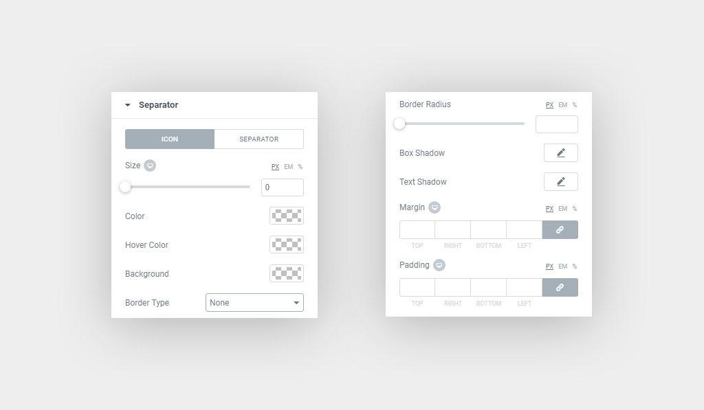 Elementor Divider Widget Separator Icon Style