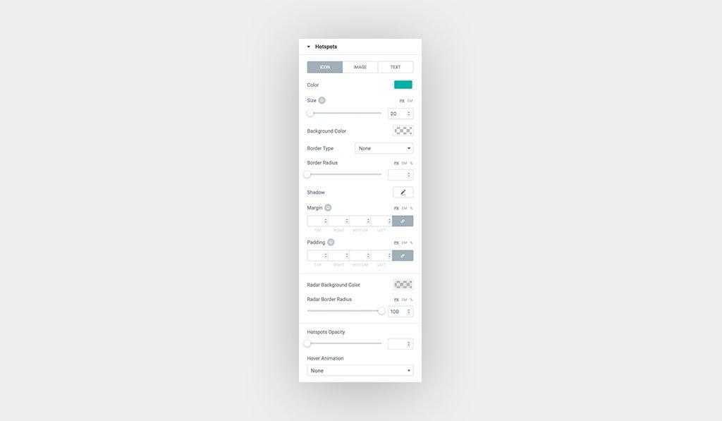Hotspots Icon Customization Options for Elementor Image Hotspots Widget