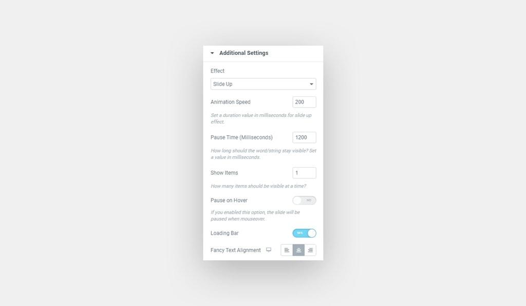 Elementor Fancy Text Slide Up Effect Settings