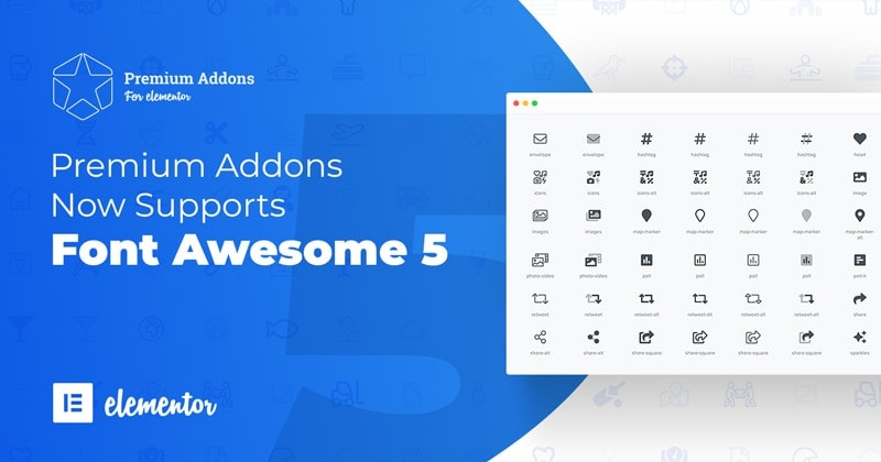 Premium Addons for Elementor Now support Font Awesome 5