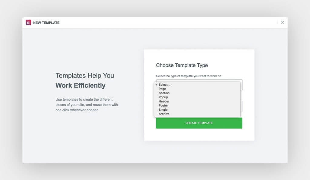 The Available Content Types in Elementor Template