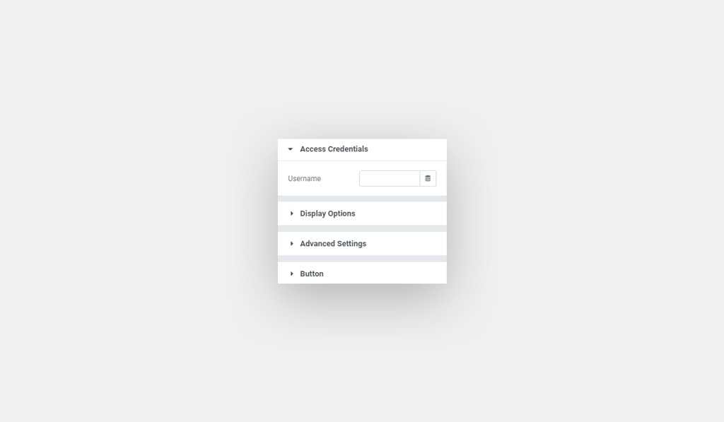 Screenshots Shows Elementor Behance Feed Widget with Required Inputs in Access Credentials: API Key and Username