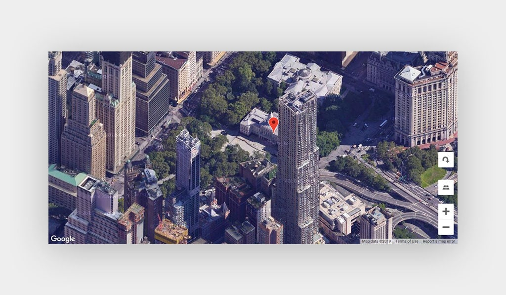 Google Maps Widget for Elementor Display New York City Buildings, Streets, Cars, and One Marker on a Building