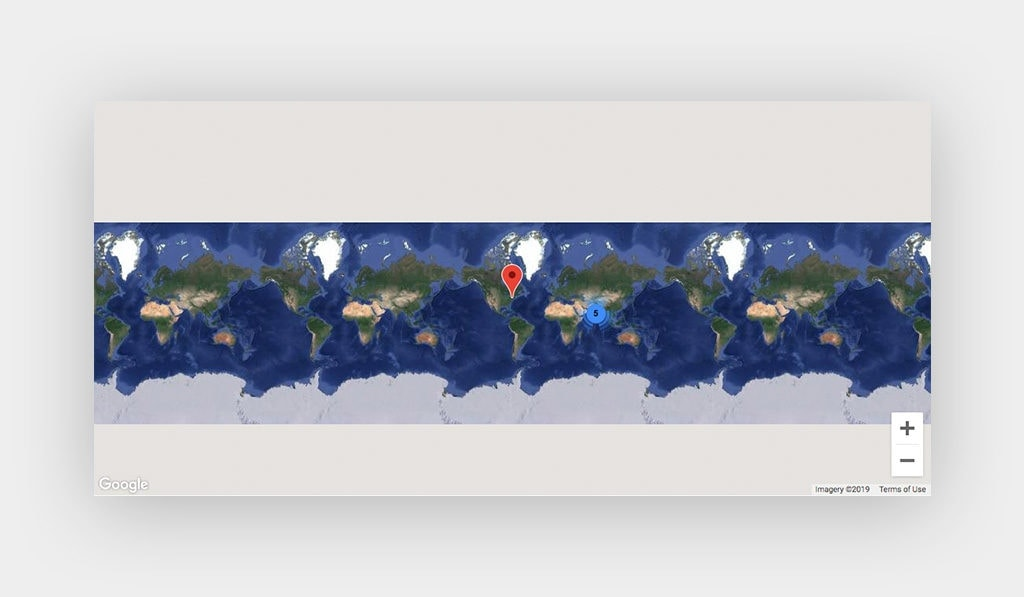 Google Maps Display Continents and Oceans. One Single Marker and Marker Clustering are Exist on This Map.