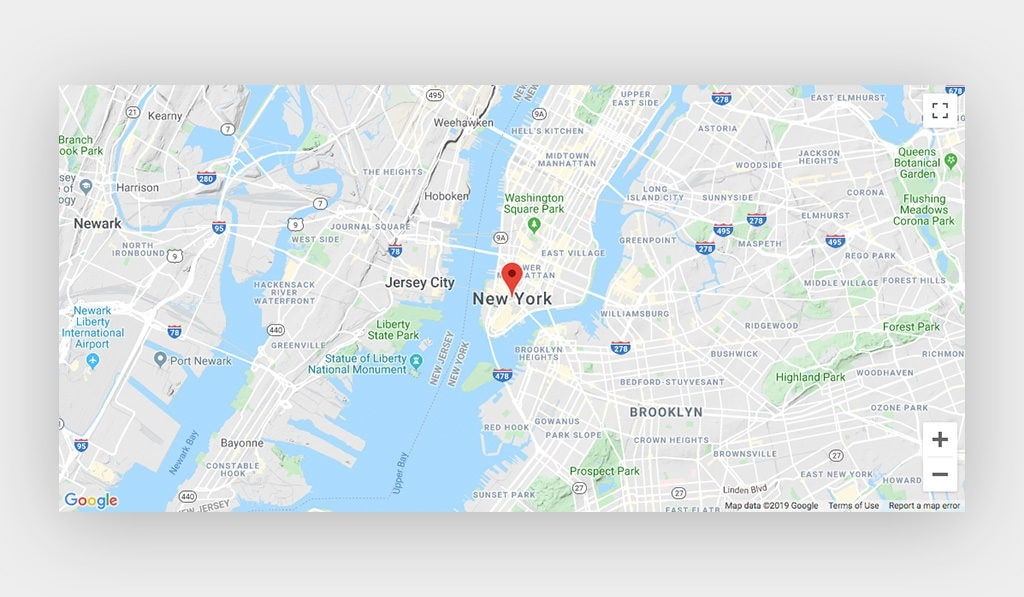 Google Maps Pin With Marker Points at New York City, Using Google Maps Type: Terrain