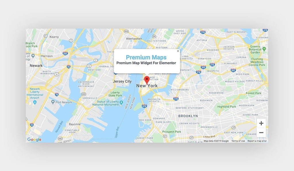 Premium Maps Widget Tooltip is Opened Above Google Maps Pin (Marker) on New York City