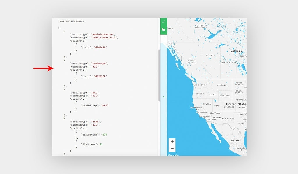 Arrow Points at JavaScript Style Array on Snazzy Maps. This Will be Used to Style Elementor Google Maps Widget.