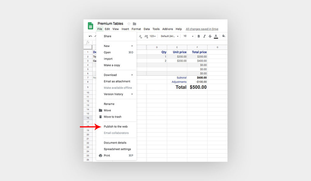 Google Sheets, Toolbar File List is Opened, and Arrow Points at Publish to The Web