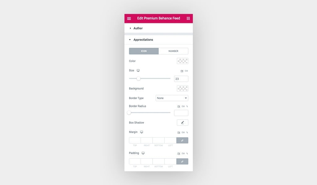 Screenshot for Behance Feed Widget Appreciation Icon Styling Settings