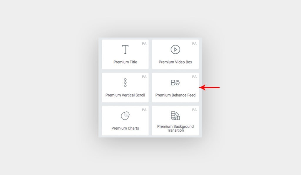 Arrow Points at Premium Behance Feed Widget Icon in Elementor's Control Panel