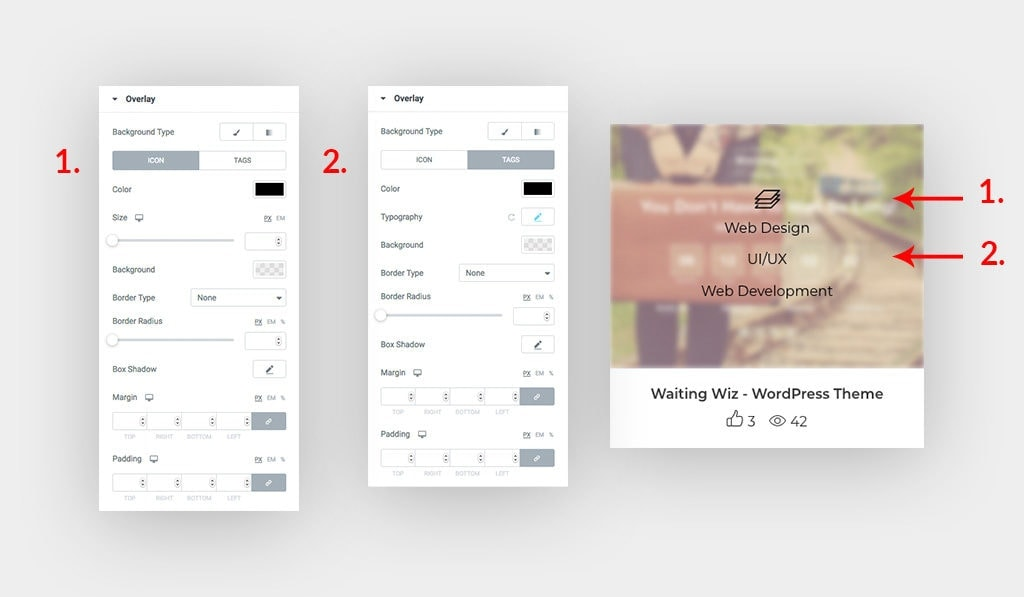 The Left Screenshots Shows The Used Styling Settings in Elementor Behance Feed Widget to Style The Overlay Icon and Tags in Popeye Image on The Right Side.