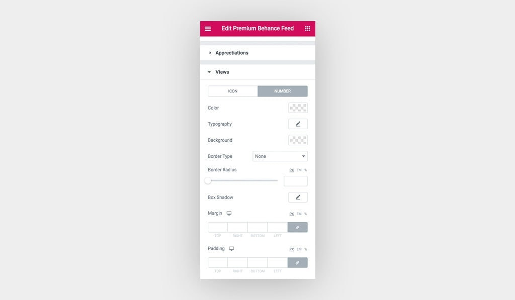 Available Styling Settings for Views' Number in Elementor Behance Feed Widget