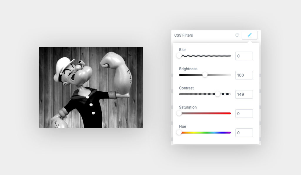 Popeye Image Black and White on The Left, and CSS Filter Group Controls Styling Options Saturation Value is Set to 0