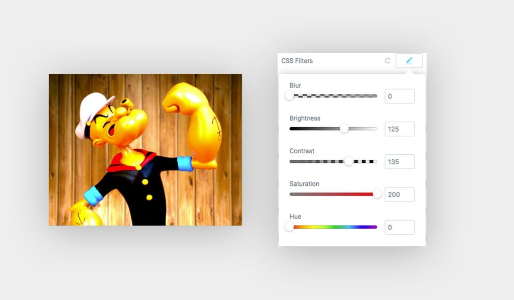 On The Left, A Screenshot Shows Popeye Image. On The Right Side, CSS Filter Group Controls Options Used for Popeye Image in Elementor Behance Feed Widget