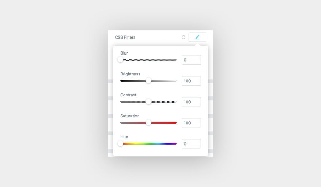 Screenshot Shows CSS Filter Group Controls for Images in Behance Feed Widget for Elementor