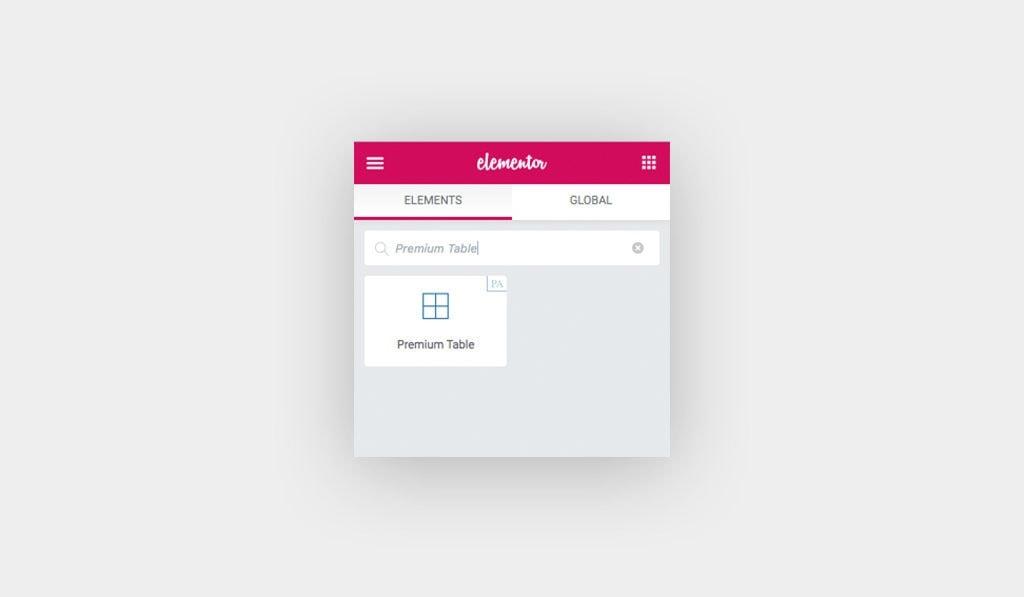 Premium Table Widget Element in Elementor Editor