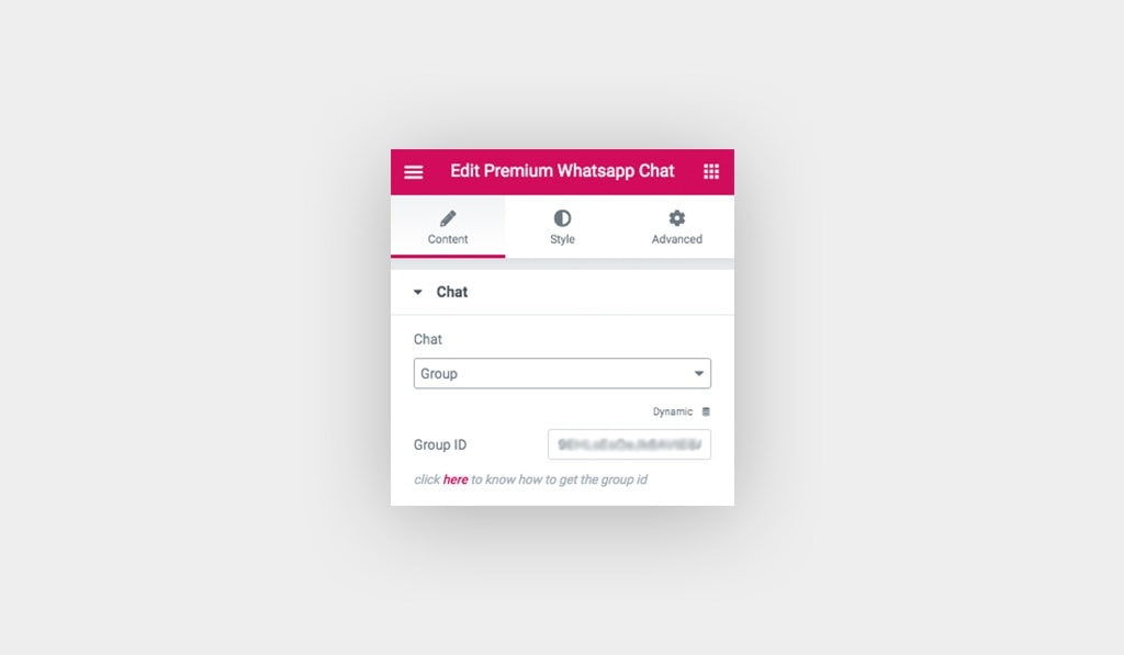 Screenshot of The Available Settings in WhatsApp Chat Widget. Chat is Set to Group and Group ID Input is Blurred.