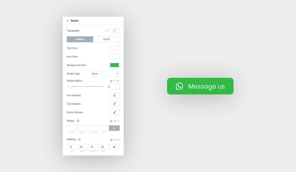 The Available Styling Options for Buttons on Hover (when Mouseover) in WhatsApp Chat Widget