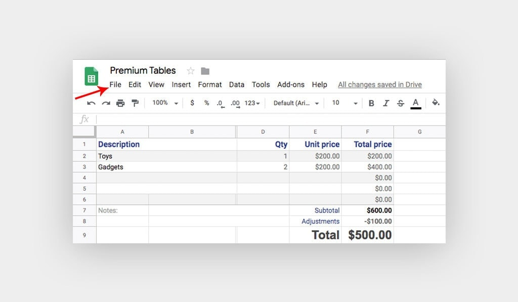 Spreadsheet on Google Sheets with Arrow Points at File