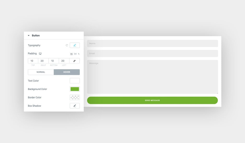 [Left] The Settings for Button on Hover in Contact Form 7 Widget for Elementor, [Right] Contact Form 7 Button When Hovered