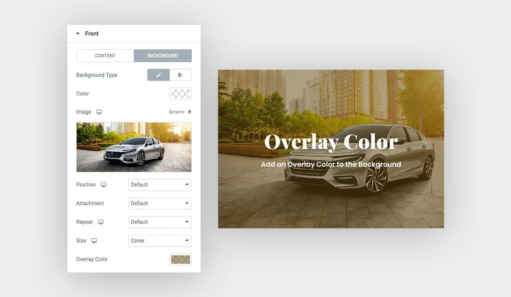 """Screenshots, [Left] Displays Elementor Hover Box Widget Background Settings, [Right] Result Silver Car """"Honda"""" With Semi Transparent Overlay Color"""