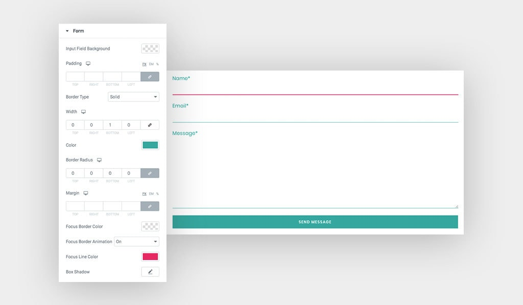 Screenshots Display Contact Form 7 Styling Settings and Contact Form 7 Styled Text Font Green, and Focus Animated Line in Pink Color