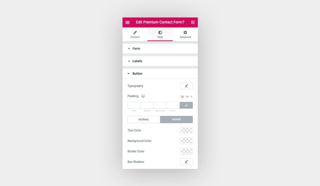 Screenshot Shows the Styling Settings in Elementor Contact Form Widget for the Button on Hover.