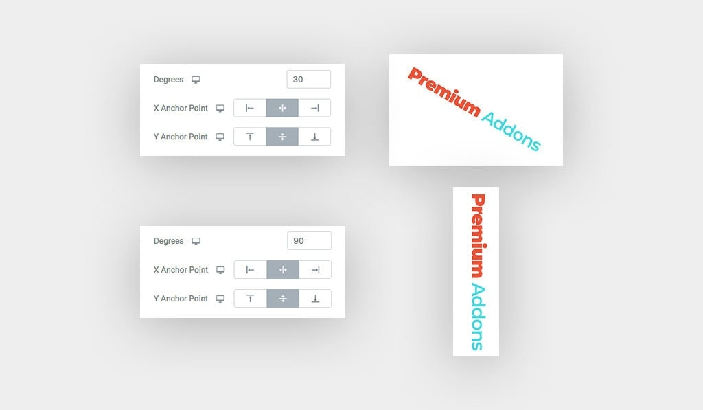 Displaying The Available Rotating and Positioning Options. [Left] The Settings in Elementor, [Right] Dual Heading Results