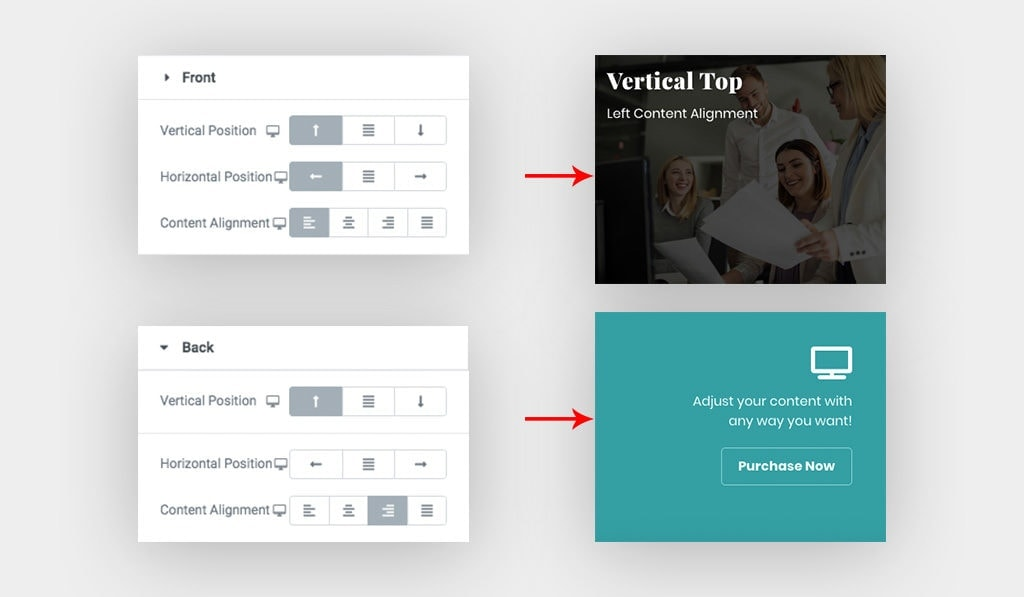 Screenshots Display Available Styling Options for Content Positioning and Alignment of Elementor Hover Box Content