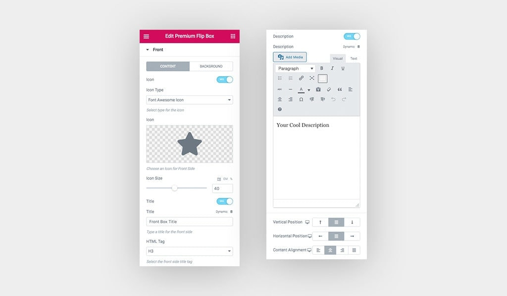 Screenshot Displays The Available Settings for Premium Hover Box Front Face Content