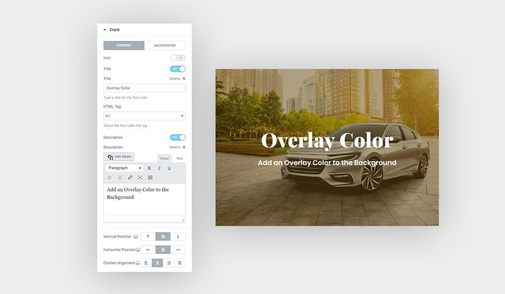 """Screenshots, [Left] Shows Elementor Hover Box Widget Content Settings, [Right] Text Says """"Overlay Color"""" with Car Image on The Background"""