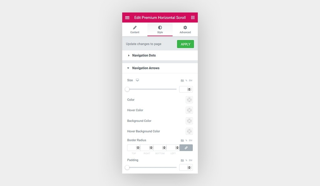 Screenshot Displays The Available Settings for Navigation Arrows in Horizontal Scroll Widget