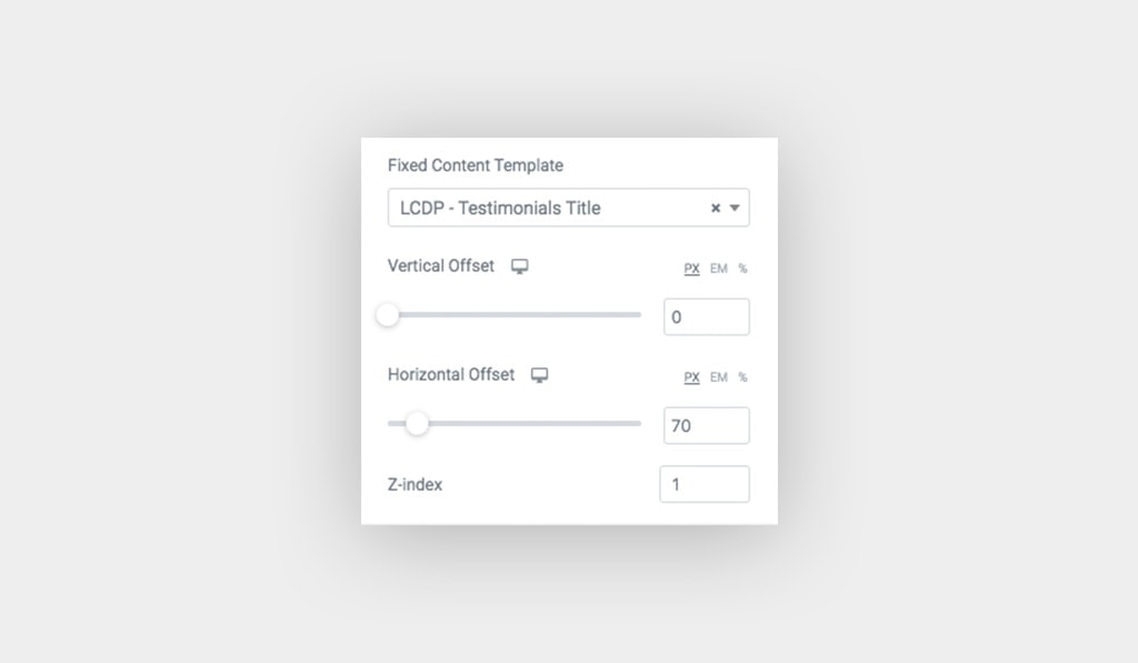Fixed Content Template Options in Horizontal Scroll Widget for Elementor