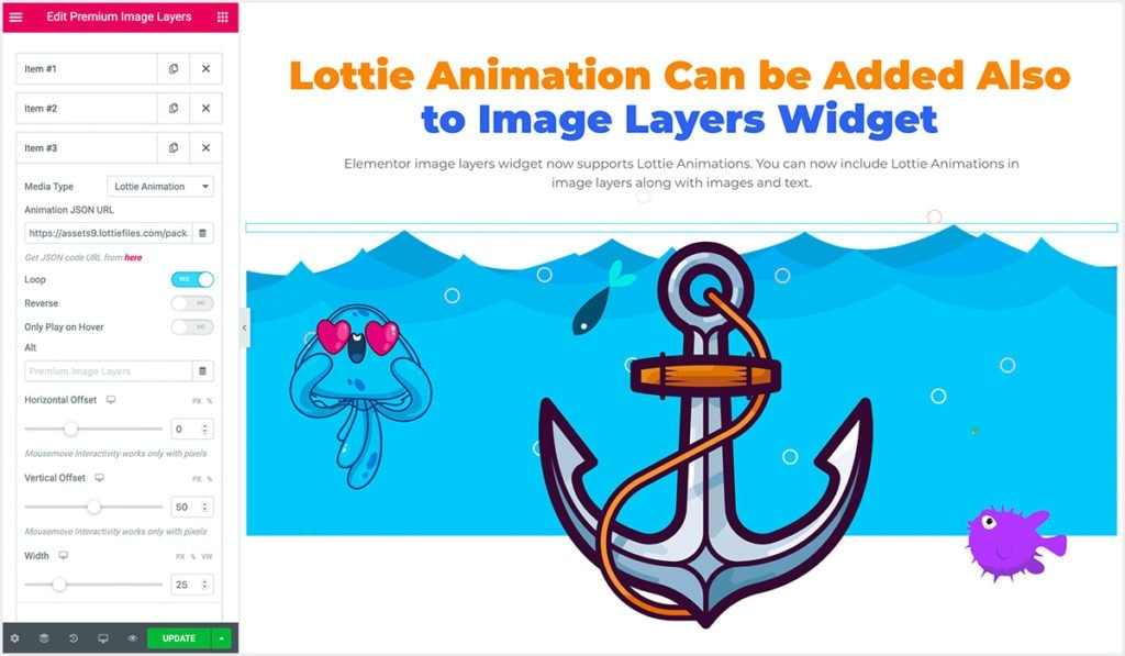 Screenshot showing Elementor Image Layers Widget settings after adding Lottie animation files to it.